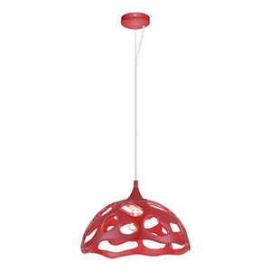 Anzino Glossy Red One Light 15-Inch Wide Pendant