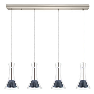 Musero Matte Nickel 36.5-Inch Four-Light LED Pendant with Smoked Glass Shade