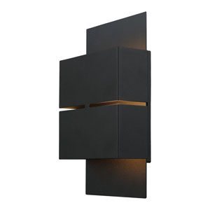 Kibea LED Matte Black Two-Light Outdoor Wall Sconce