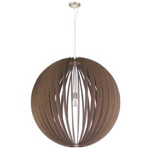 Cossano Satin Nickel 39-Inch One-Light Pendant with Dark Brown Shade