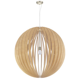 Cossano Satin Nickel 39-Inch One-Light Pendant with Maple Shade