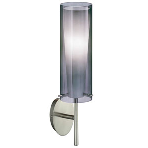 Pinto Nero Matte Nickel One-Light Wall Sconce with Smoked/White Glass