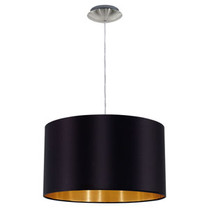 Maserlo Satin Nickel One-Light Pendant with Black Gold Shade