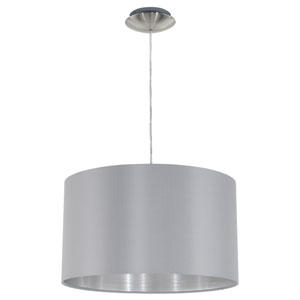 Maserlo Satin Nickel One-Light Pendant with Gray Silver Shade