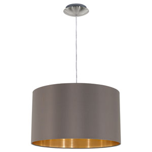Maserlo Satin Nickel One-Light Pendant with Cappucino Gold Shade