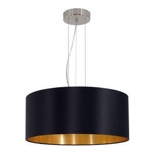 Maserlo 21-Inch Black and Gold Three-Light Pendant