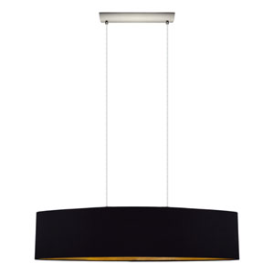Maserlo Satin Nickel Two-Light Pendant with Black Gold Shade