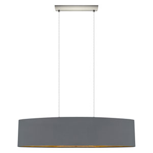 Maserlo Satin Nickel Two-Light Pendant with Cappucino Gold Shade