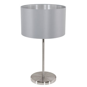Maserlo Matte Nickel 9-Inch One-Light Table Lamp with Grey Silver Shade
