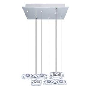 Corliano LED Chrome Eight-Light Mini Pendant