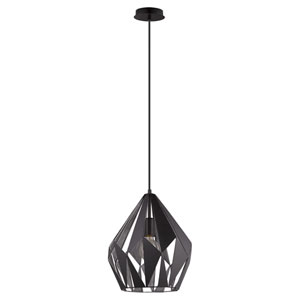 Carlton Black and Silver One-Light Pendant