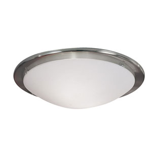 Planet Matte Nickel Two-Light Flush Mount with Satin Glass