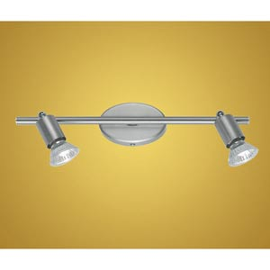 Buzz Matte Nickel and Chrome Two-Light Directional Spotlight