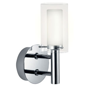 Palermo Chrome One-Light Bath Fixture with Frosted and Clear Glass