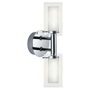 Palermo Chrome Two-Light Bath Fixture with Frosted and Clear Glass