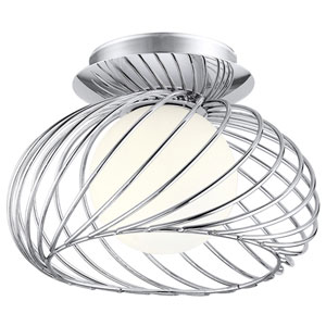Thebe Chrome One-Light Semi Flush Mount with Opal Frosted Glass