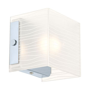 Alea 1 Chrome Wall Sconce w/ Striped Satinated Glass