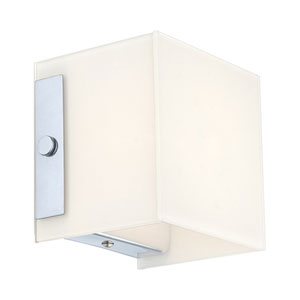 Alea 1 Chrome Wall Sconce w/ Opal Glass