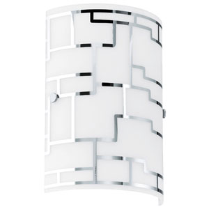 Bayman Chrome Wall Sconce w/ White Glass
