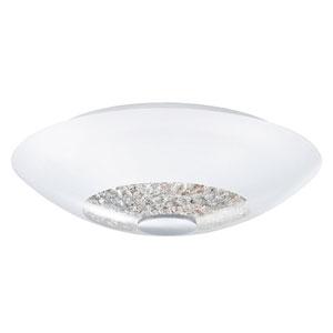 Ellera Chrome 12.5-Inch Wide Semi-Flushmount w/ Opal Glass and Clear Crystals