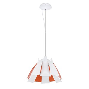 Tressi Glossy White and Orange 17.13-Inch One-Light Dome Pendant