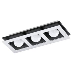 Bellamonte LED Black and Brushed Aluminum Three-Light Flushmount