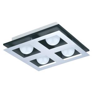 Bellamonte LED Black and Brushed Aluminum Four-Light Flushmount