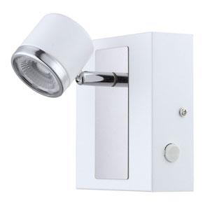 Pierino 1 White and Chrome LED Wall Spot Track Light