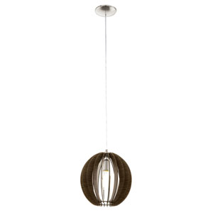 Cossano 12-Inch Dark Brown and Matte Nickel One-Light Pendant