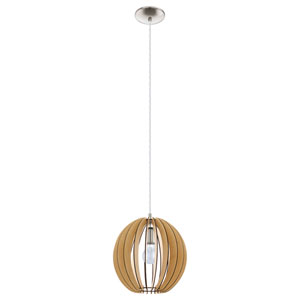 Cossano 12-Inch Light Brown and Matte Nickel One-Light Pendant