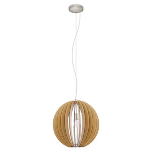 Cossano 20-Inch Light Brown and Matte Nickel One-Light Pendant