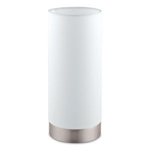 Pasteri Matte Nickel One-Light Table Lamp with White Shade