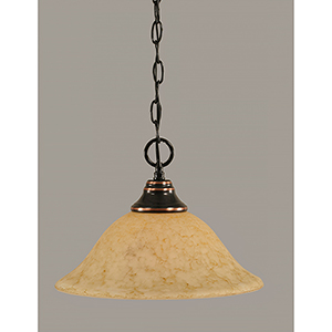 Any Black Copper 12-Inch One-Light Pendant with Italian Marble Glass