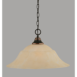 Any Black Copper 20-Inch One-Light Pendant with Amber Marble Glass