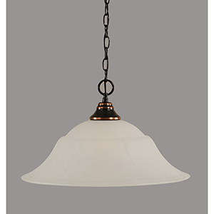 Any Black Copper 20-Inch One-Light Pendant with White Marble Glass
