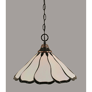 Any Black Copper 16-Inch One-Light Pendant with Pearl and Black Flair Tiffany Glass
