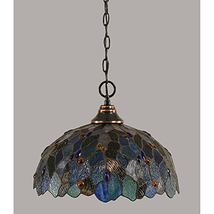 Any Black Copper 16-Inch One-Light Pendant with Blue Mosaic Tiffany Glass