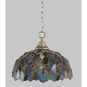 Any Brushed Nickel 16-Inch One-Light Pendant with Blue Mosaic Tiffany Glass