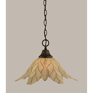Any Bronze 16-Inch One-Light Pendant with Vanilla Leaf Glass