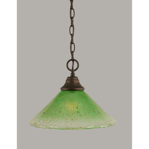Any Bronze 12-Inch One-Light Pendant with Kiwi Green Crystal Glass