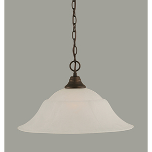 Any Bronze 20-Inch One-Light Pendant with White Marble Glass