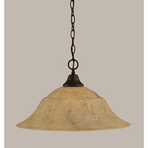 Any Bronze 20-Inch One-Light Pendant with Italian Marble Glass