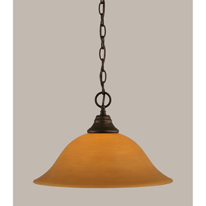 Any Bronze 16-Inch One-Light Pendant with Cayenne Linen Glass