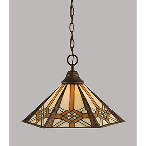 Any Bronze 16-Inch One-Light Pendant with Hampton Tiffany Glass