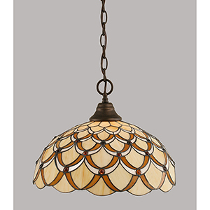 Any Bronze 16-Inch One-Light Pendant with Honey and Brown Scallop Tiffany Glass