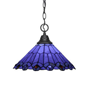 Any Matte Black 14-Inch One-Light Pendant with Blue Peacock Art Glass