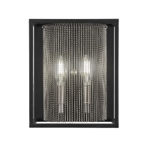 Cadina Matte Black and Brushed Nickel Nine-Inch Two-Light Wall Sconce