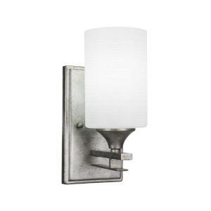Uptowne Aged Silver Four-Inch One-Light Wall Sconce with White Matrix Glass