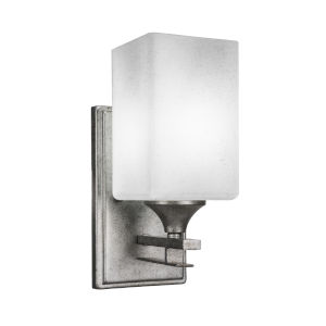 Uptowne Aged Silver Four-Inch One-Light Wall Sconce with Square White Muslin Glass