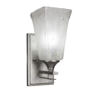 Uptowne Aged Silver Five-Inch One-Light Wall Sconce with Square Frosted Crystal Glass